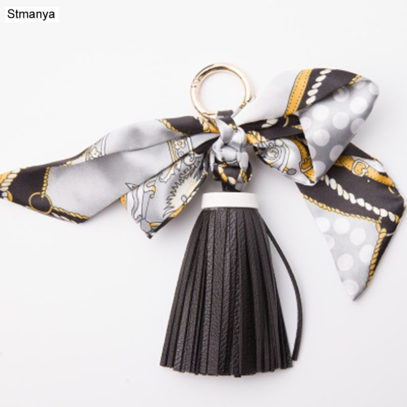 Lovely Soft Leather Tassels Keychain Bowknot Scarf Pendant Bag Charm Accessories Creative Key Chain Fashion Car Key Holder K1690
