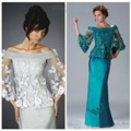 Mother of the Bride Dresses Illusion Half Sleeve Floor Length Mermaid Mum Dress For Mother of Groom Evening Party Dress