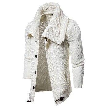 2018 Jesień męska Jednolity Kolor Zagęścić Knit Cardigan Men Casual Wieczorne Collar Slim Sweter Płaszcze Dla Mężczyzn Czarny Biały szary