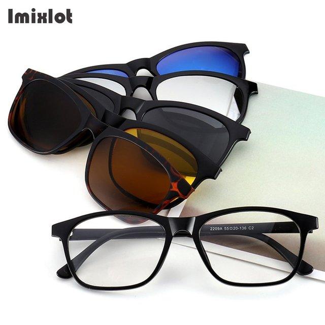 2652a66fd0f24 Imixlot 5 Lente Magnética Clipe Multi-Purpose Polarizada Óculos De Sol Dos  Homens Do Vintage