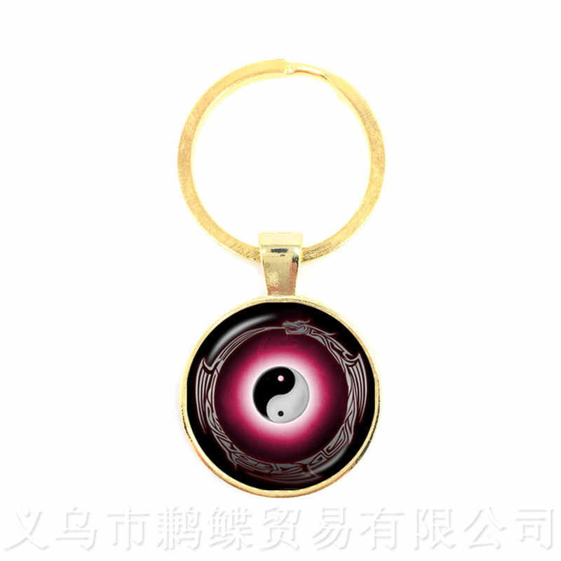 Elegante Taiji Yinyang diseño llaveros 25mm cristal redondo Henn Yoga gótico llavero para hombres mujeres niñas joyería
