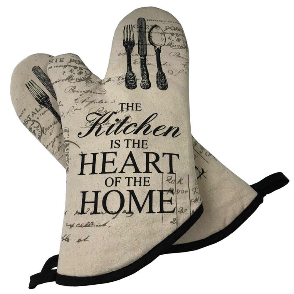 1Pair Vintage Letter Printed Oven Mitt And Heat Resistant Pot Holder Pad Protective Oven Gloves For Kitchen Gadgets(China)