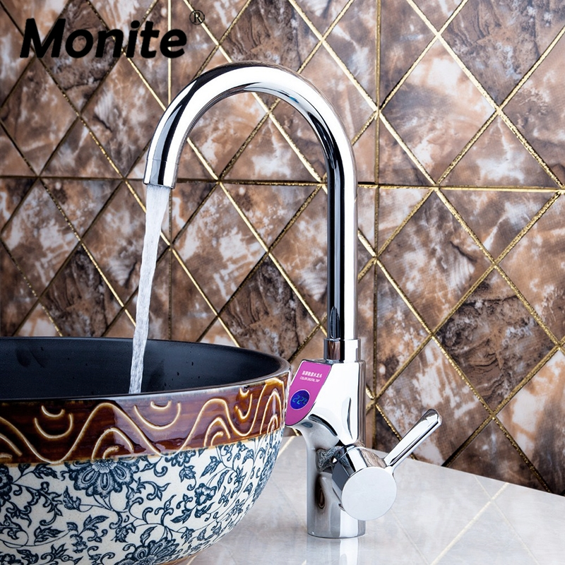NEW Chrome Brass Bathroom Faucet Sink Faucet Digital Display Temperature Vessel Tap Cold And Hot Mixer Water Tap new chrome brass bathroom sink faucet automatic sensor vessel tap for cold water