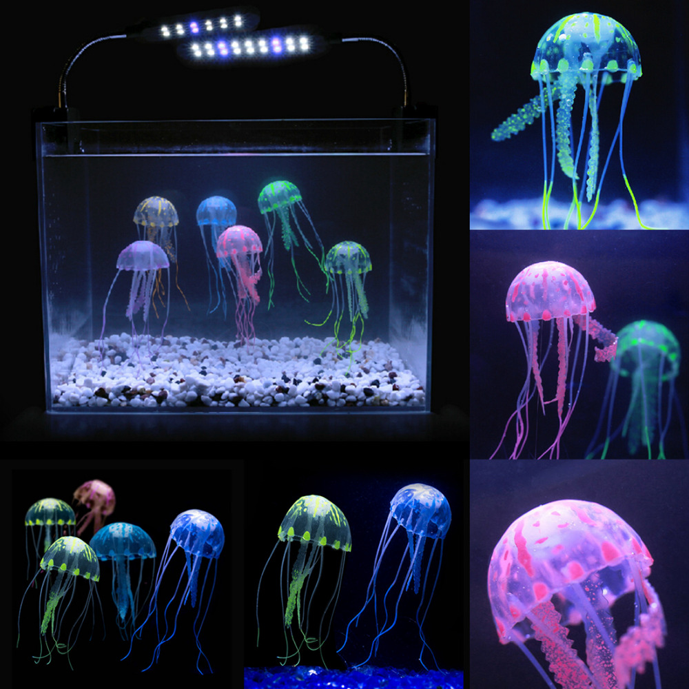 Beauty artificial fake jellyfish acuario aquarium for Decoration poisson aquarium