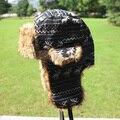 Women Trapper Hat Earflap Cap Fawn Pattern Faux Fur Snow Ski Beanie Hat Cap Beanies