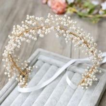 Jonnafe Handmade Pearl Bridal Headband Hair Vine Gold Wedding Tiara Hair Accessories Crystal Women Jewelry Headbands