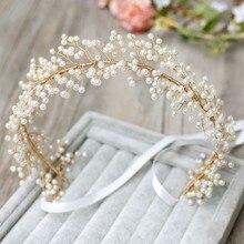 Jonnafe artesanal pérola nupcial bandana de cabelo videira ouro casamento tiara acessórios para o cabelo cristal feminino jóias headbands