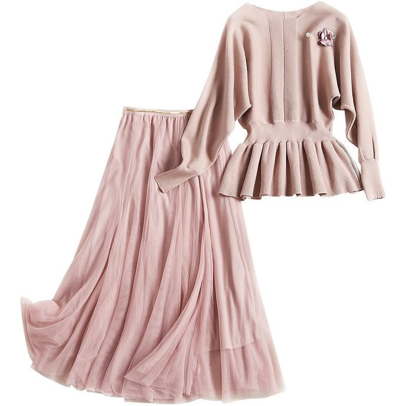 2018 7881 À Pink Et En De Loisirs Slim Chandail Automne cou O Costume Des Femmes Tricoté Manches Mis Jupe Longues Filet 0rxHRw0q