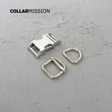 10 set/lote (hebilla de metal + hebilla ajustable + anillo D/conjunto) broche de seguridad accesorio de costura DIY 15mm hebilla de metal plateado aleación de zinc