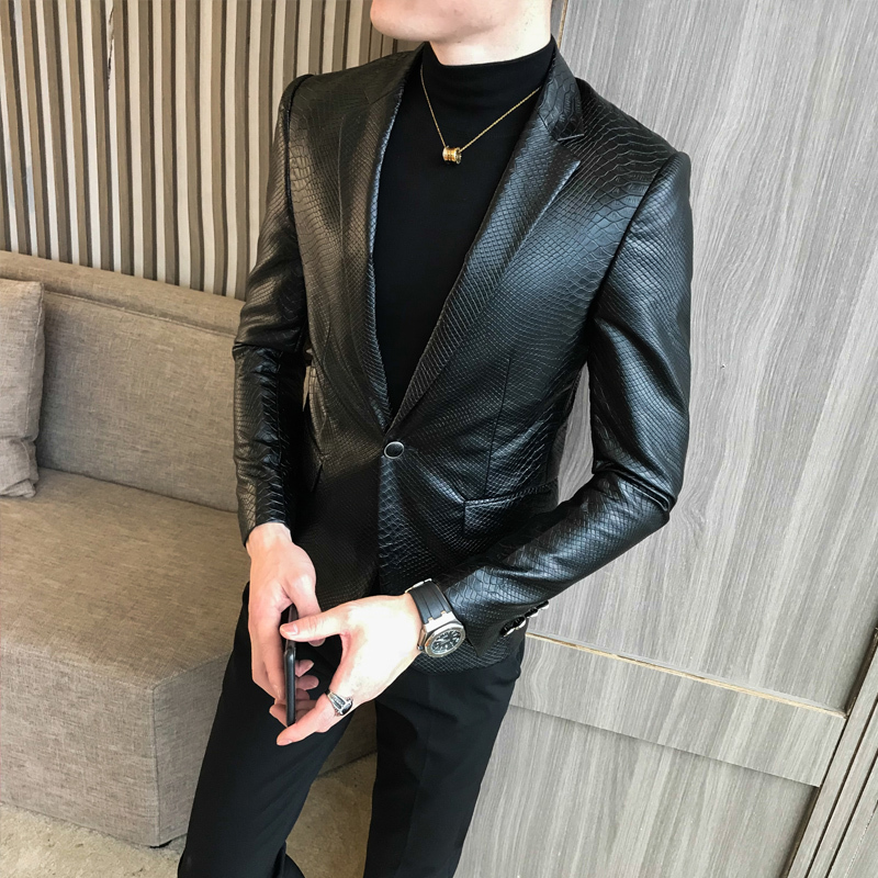 One Button PU Blazer Men Slim Fit Blazer Masculino Black Mens Blazer Para Hombre Vintage Prom Blazers For Men