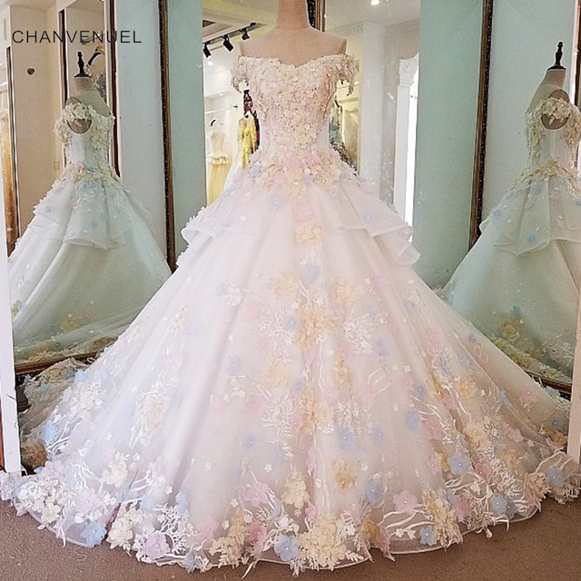 LS00039 Gorgeous ivory bridal gown 3D flowers short sleeves ball ...