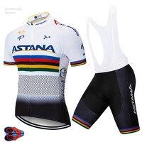 2019 branco astana roupas de ciclismo equipe camisa ciclismo mtb ciclismo esporte jérsei manga curta bicicleta camisa ropa ciclismo 9d|Kits ciclismo| |  -