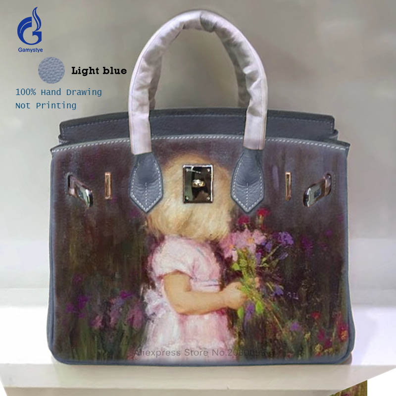 2018 New Arrival Ladies Genuine Leather Bags For Women 2018 Vintage HAND PAINTED Graffiti Hand Bag Top-Handle Bag Casual Totes Y art hand printed bags for women 2018 100% genuine leather top handle bags high capacity vintage casual totes togo leather bag y