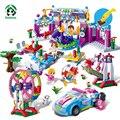 Gran parque de atracciones 837 unids feliz carnaval building blocks juguetes amigos ladrillos compatibles con lego bloques de juguete princesa para las niñas