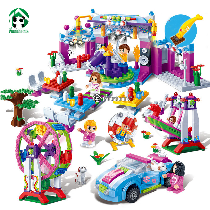 Large Amusement Park 837pcs Happy Carnival 6 Figures Dolls Building Toy Blocks Bricks Friends Princess Fun Toys for Girls princess ponies 6 best friends for ever
