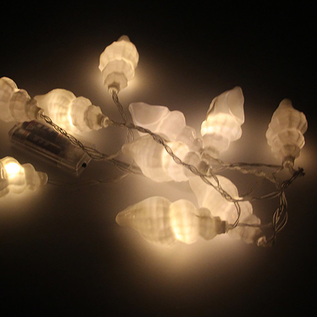 Sea Shell Lights Battery Operated Party LED Lights Lantern String Decor Hanging Conch light string home decoration new 420