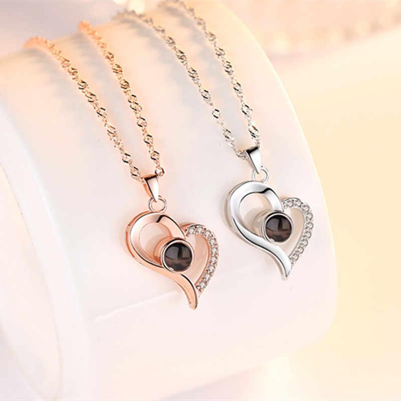 Женское ожерелье с подвеской в виде сердца, Кристальное колье, 925 пробы, серебро 100, язык I Love You, жена, подарок, ювелирное изделие, подарок на день Святого Валентина