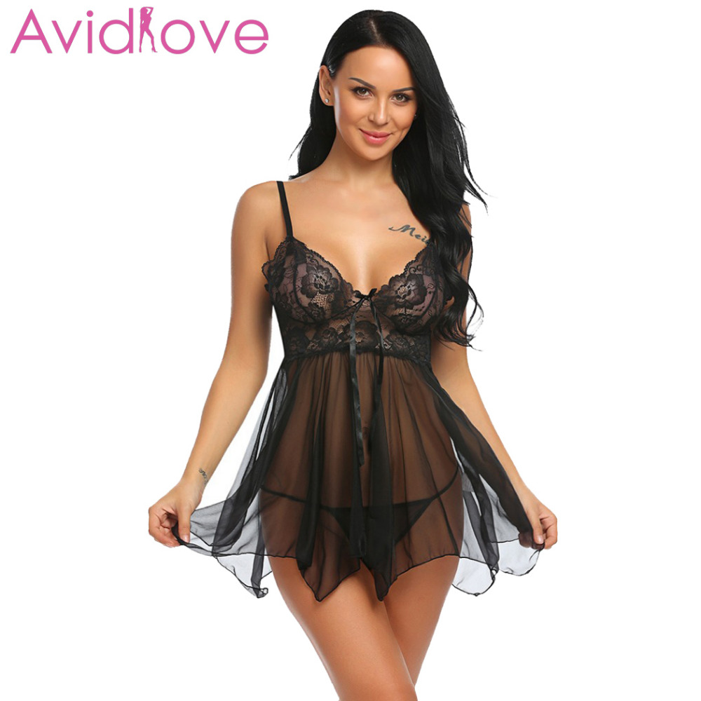 Avidlove Lingerie Sexy Erotic Hot Babydoll Dress Women Transparent Floral Lace Night Porn Chemise Underwear Fantasy Sex Clothes