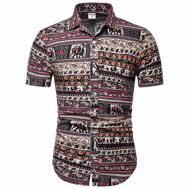 Vintage African Ethnic Print Shirt Men 2019 Summer New Short Sleeve Mens Dress Shirts Holiday Party Hawaiian Shirt Men Chemise