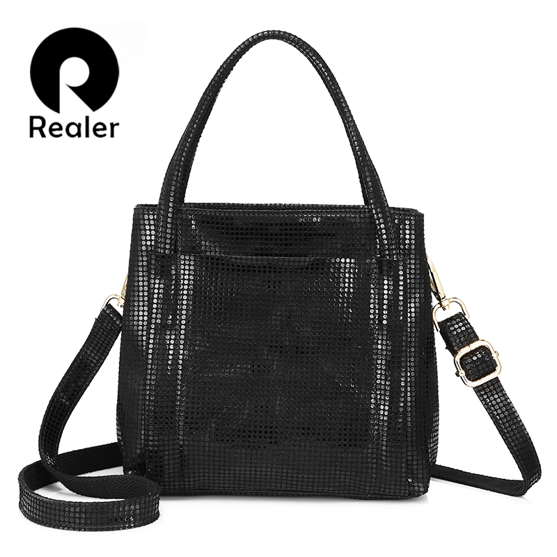 REALER genuine leather handbags Ladies bags fashion shoulder crossbody bags for women totes high quality messenger bag female bailar fashion women shoulder handbags messenger bags button rivets totes high quality pu leather crossbody famous brand bag