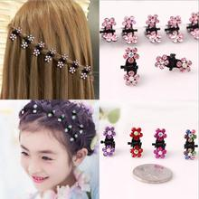 все цены на New Fashion Mini Hair Claw For Girls Crystal Flower Hair Pins Metal Hairpin For Children Small Size Stones Hair Clips 12 PIECES онлайн