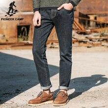 Pioneer camp 2017 nova moda primavera outono roupas de marca dos homens calças de brim de algodão calças elásticas de fitness fino masculino denim calças(China (Mainland))