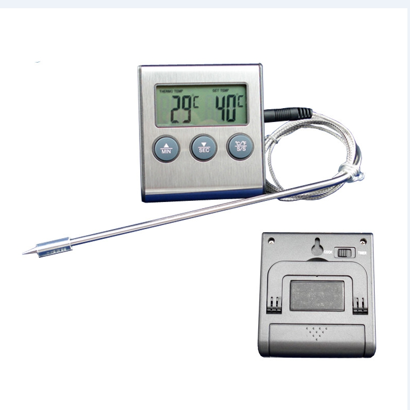 Digital Oven Thermometer Kitchen Food Cooking Meat BBQ Probe Thermometer With Timer Water Milk Temperature Set Alarm Sound Tools