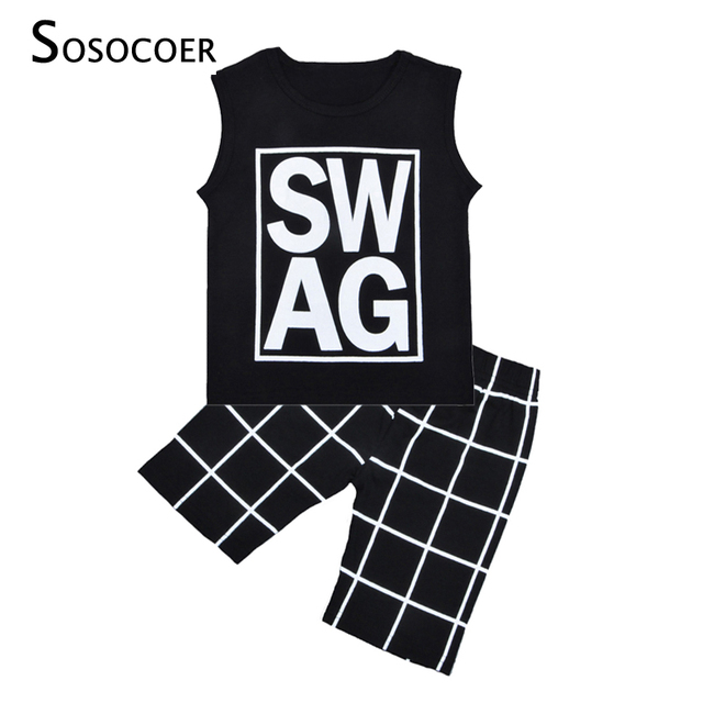 d1ad67622 SOSOCOER New 2017 Summer Baby Boy Clothing Sets SWAG Sleeveless T ...