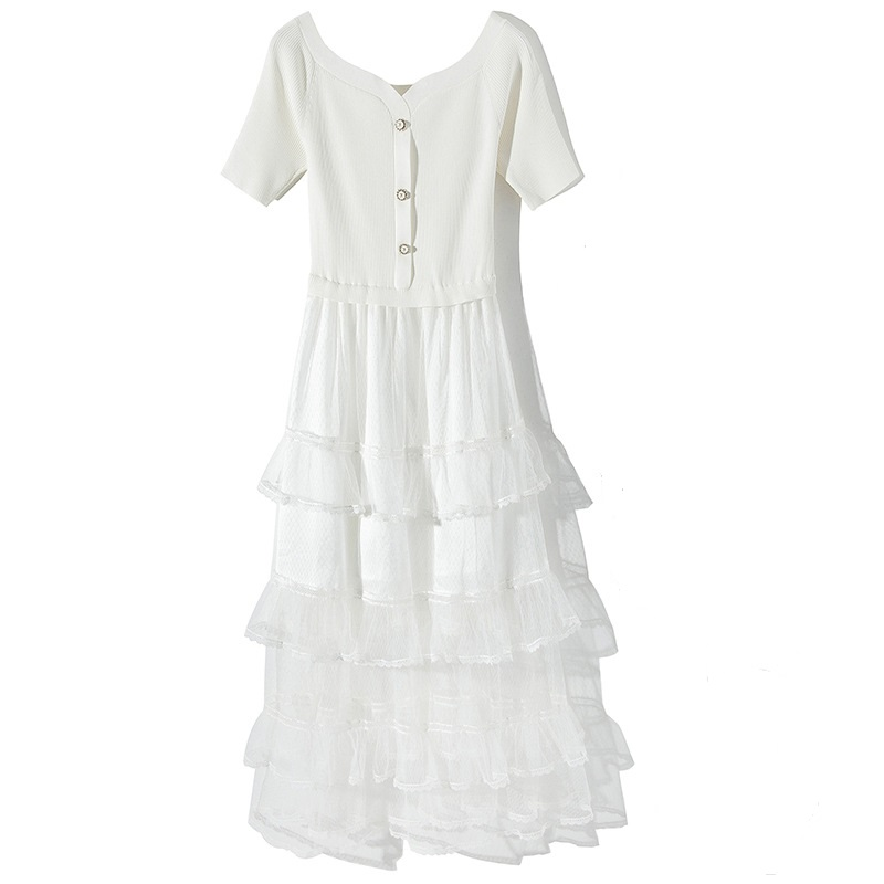 a0ad57eb703 Manches Tricoté Mi Printemps Robe Mince white Pull Patchwork Longue 2019 Longueur  Tulle Haut Femmes Maille Nouveau ...