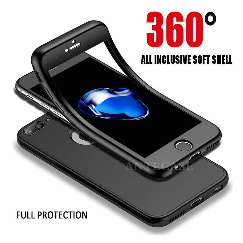 360 Full Cover Phone Case For iPhone XR Xs Max Case Cover Apple iPhone X 5 5S SE 6 6S 7 8 Plus 360 Silicone Case Full Protective