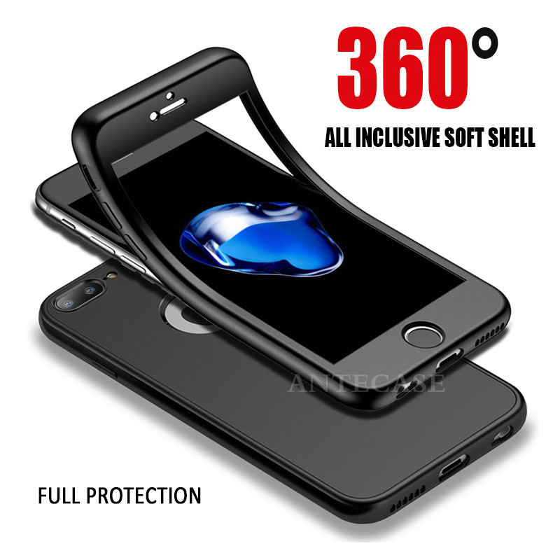 360 Full Cover Phone Case For iPhone XR Xs Max Case Cover Apple iPhone X 5 5S SE 6 6S 7 8 Plus 360 Silicone Case Full Protective iPhone XR