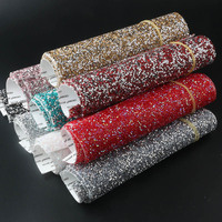24*40cm/PC 3mm Resin rhinestone mesh Applique Hotfix Iron On Strass Mesh Banding In Roll For Wedding Dresses Crafts