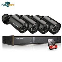 FLOUREON 1 X 8CH 1080P 1080N AHD DVR + 4 X Outdoor 3000TVL 1080P Cameras + 1TB HDD Security Kit EU CCTV Video Surveillance Cam