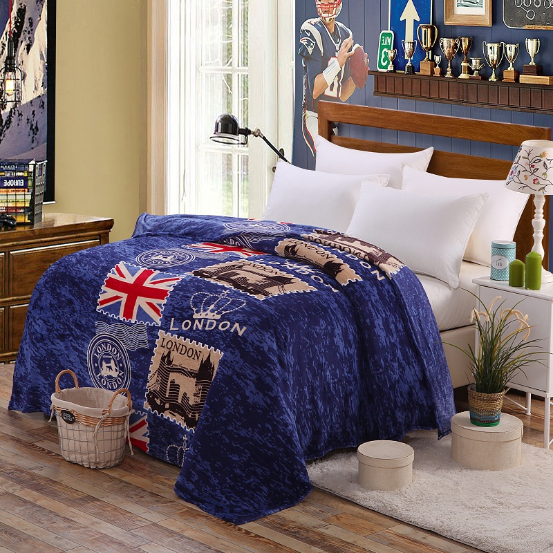 on sale london style flag coral fleece blanket on bed fabric bath plush towel air condition. Black Bedroom Furniture Sets. Home Design Ideas
