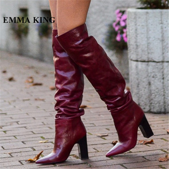 Runway Wine Red Chunky Heels Thigh High Boots Sexy Lady Leather Pleated Over The Knee Boots High Heels Party Dress Shoes Women