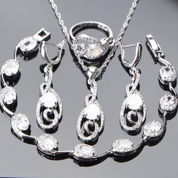 925 Sterling Silver Jewellery Sets Women Opal Wedding Jewellery  Set