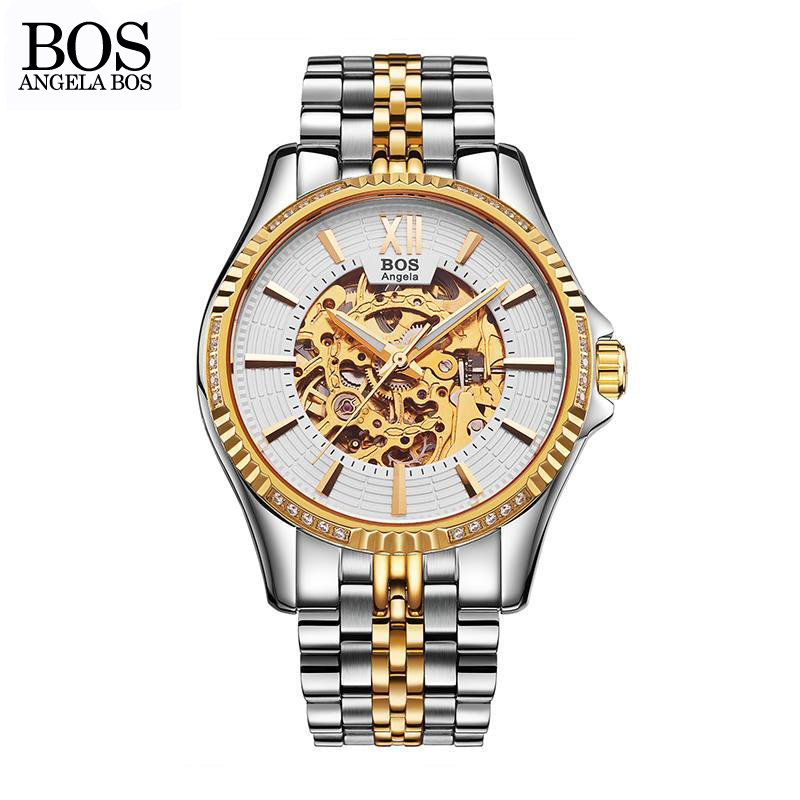 ANGELA BOS Business Watch Men Mechanical Automatic Stainless Steel Skeleton Mens Watches Top Brand Luxury Waterproof Wrist Watch angela bos cool mens watches top brand luxury quartz watch stainless steel date rhinestones waterproof wrist watches for men