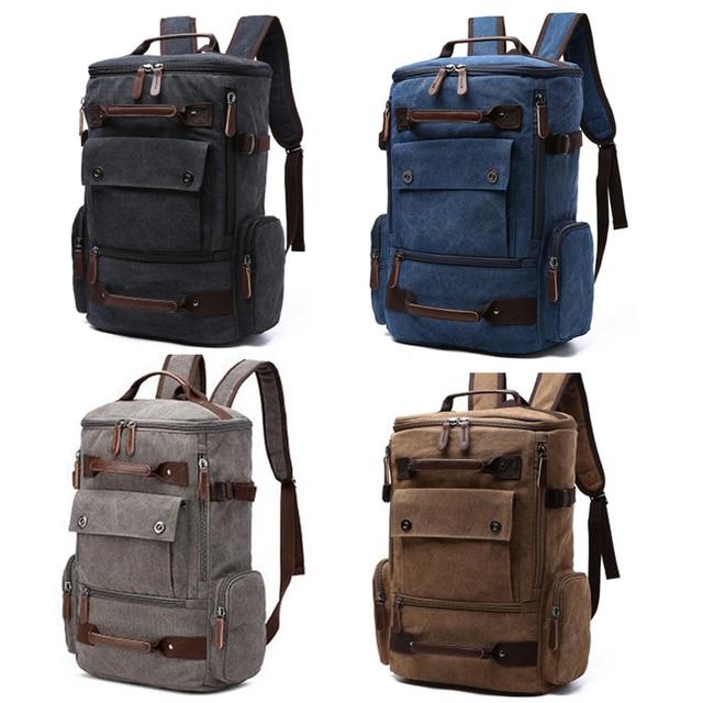 Laptop 17'' 15.6'' Backpack Men Backpacks Male Canvas Fashion Backpacking Travel Large Capacity Bagpack Student Women Back Pack