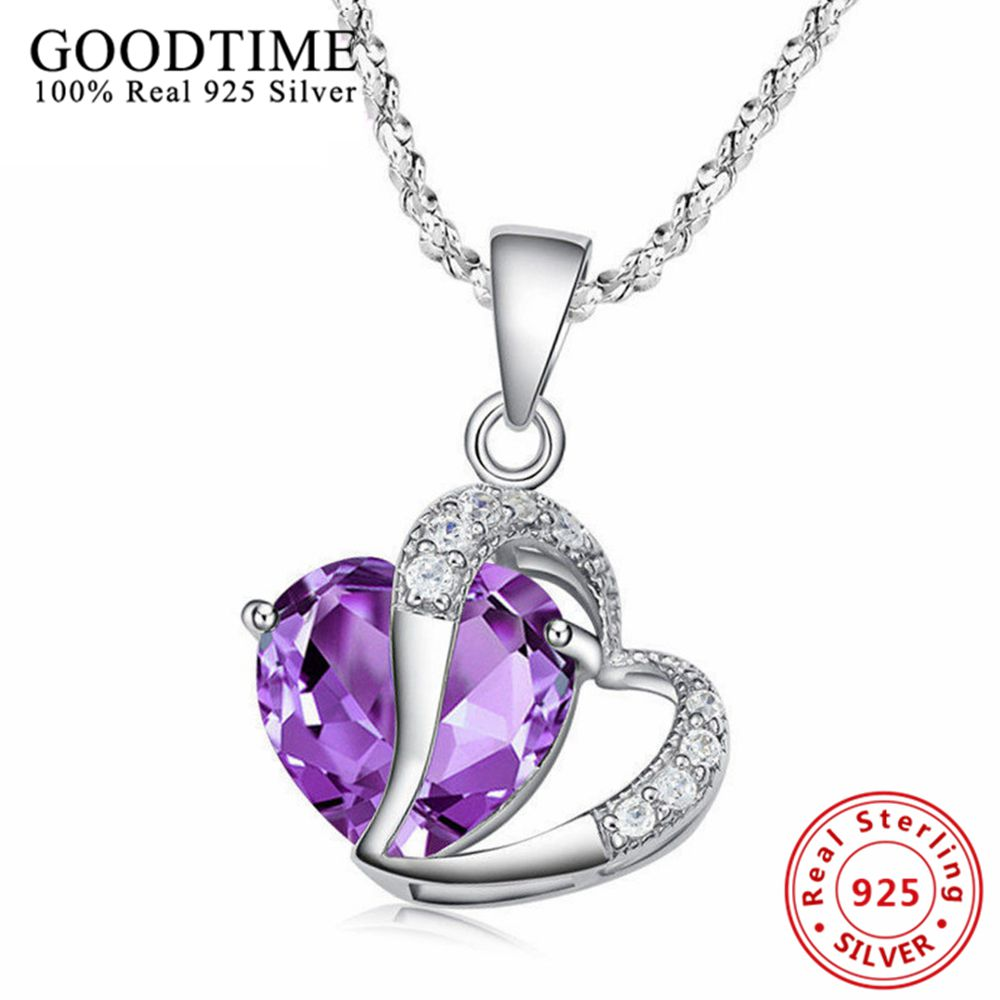 New Luxury Princess 925 Sterling Silver Jewelry Purple Loving Heart Kristal Pendant Kalung Wanita Untuk Hari Valentine