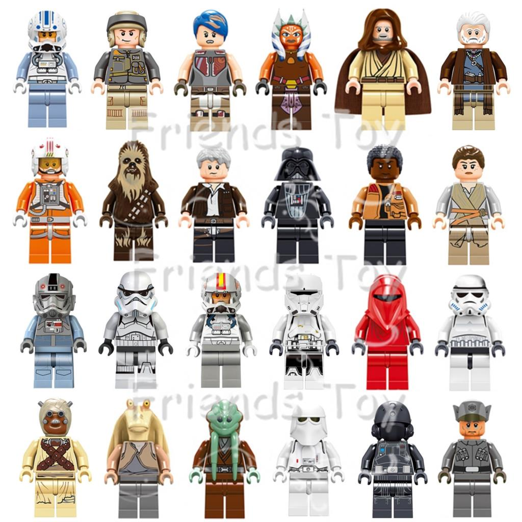 24pcs Star Wars Han Solo Darth Vader Finn Luke Skywalker Rey Troopers Jedi Mini Man Blocks Toy Compatible With Lego