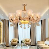 Longree классический чистый белый 6 головок рустикальный, железный стеклянный люстры свет стеклянный абажур свечная люстра лампа блеск света