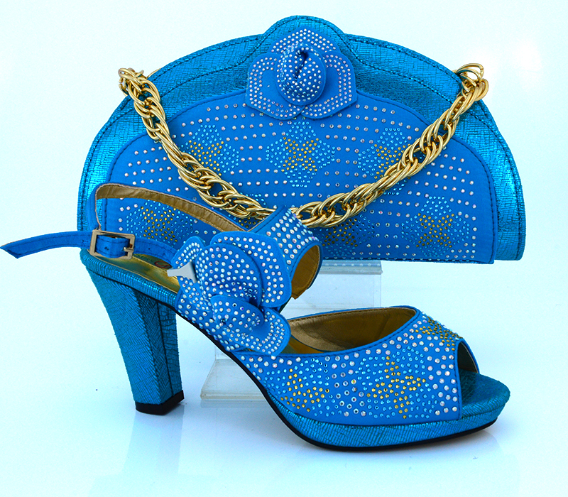 Newest Fashion Sky Blue Color Las Shoe Bag Set Italian African Wedding And Decorated With Diamonds In Women S Pumps From Shoes