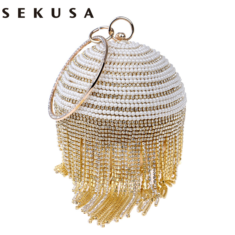 SEKUSA Circular Design Beaded Women Evening Bags Rhinestones Tassel Day Clutches Purse Silver/Gold/Black/Red/Blue Evening Bag sekusa flower rhinestones women handbags red black purple gold chain shoulder bags metal day clutches purse wedding wallets