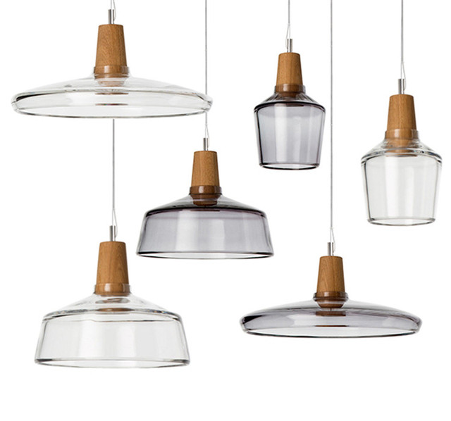 Free Shipping Gl Shade Wooden Socket Cover Plastic Pendant Light 3 Items Smoke And Clear Color Lighting Fixture