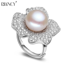 Fashion 10-11mm big size pearl ring for women high quality natural white pink purple freshwater pearl jewelry adjustable ring white pink purple natural freshwater pearl wedding ring adjustable rings for wife hot sale