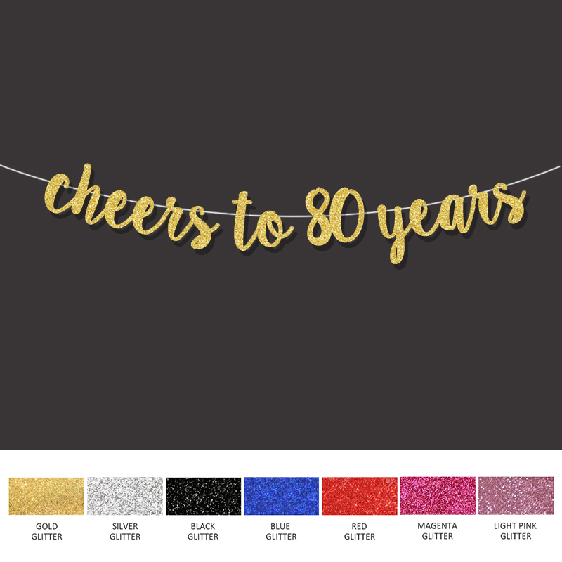 Birthday Banner 80th Creative Party Black And Gold Paper Flag Bunting 80