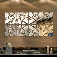 32 unids/set mirror 3d pegatinas de pared diy decoración moderna casa de diseño de acrílico espejo etiqueta de la pared vinilos paredes de plata/oro