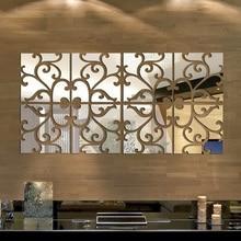 32pcs 3D מראה קיר מדבקת אקריליק מודרני עיצוב הבית וול דקור מראה קיר מדבקות Diy פוסטר מדבקות כסף/זהב