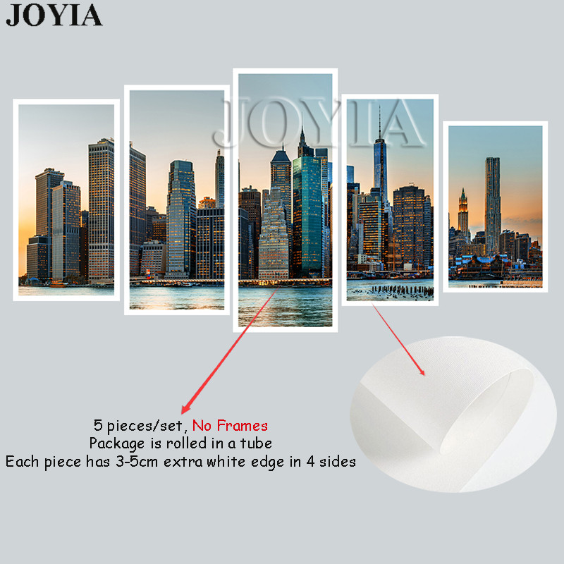 5 Piece Wall Art Canvas Manhattan City New York Wall Pictures Urban ...