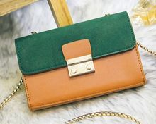 Spring and summer new splicing hit color lock chain bag, ladies simple fashion shoulder diagonal cross small bag